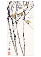 Product: Sparrows on Birch Trees note cards