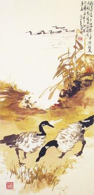 Painting by Charles Chu: Canada Geese in the Fall