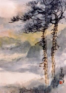 Painting by Charles Chu: Trees in Fog