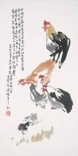 Painting by Charles Chu: Roosters and Chicks